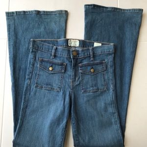 Current/Elliott Dixie Wide Leg Stretch Denim Jeans